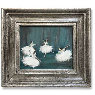 'Corps de Ballet' Acrylic on Board in Silver Gilt Antique Frame (B1005)