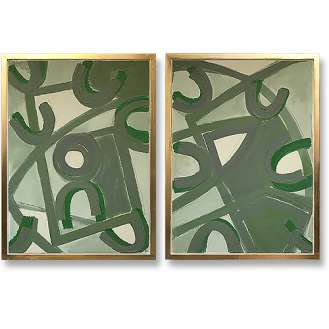 PAIR 'Verdigree' Oil & Acrylic on Board in Gold Gild Shadow Gap Tray Frame (B1007)