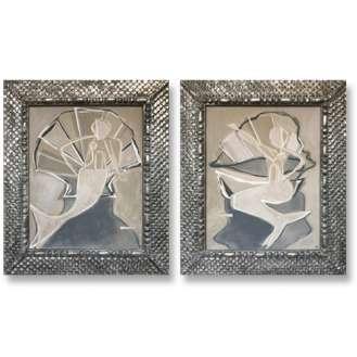 PAIR 'Mermaid with Pearl' L & R Study Acrylic & Gouache on Board in Carved Wood Fishscale Silver Gilt Frames (B1010)