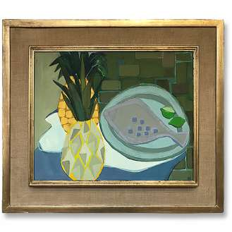 'Fish and two Pineapples' Gouache + Acrylic on Board in 1950s Original Gold & Gilt & Hessian Frame (B1011)