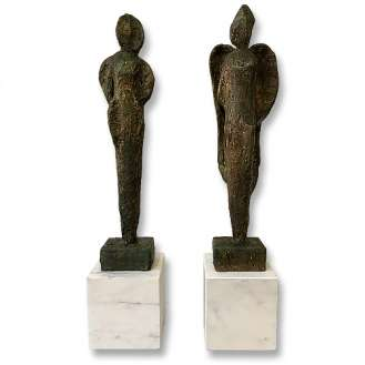 'Gala Pose' Left & Right Study Original Maquettes in Clay, Wood and Gesso with Bronze Finish on Marble Plinths (B1013)