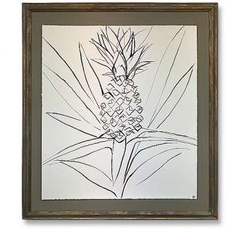 'King Pineapple' Gouache on Handtorn Paper in Bronze Finish Gold Gilt Frame (B1017)