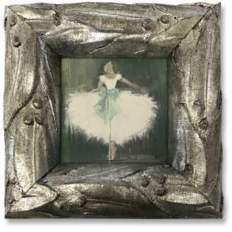 'Dandelion Ballerina' Watercolour & Gouache on Paper in Silver Gilt Carved Frame (B1020)