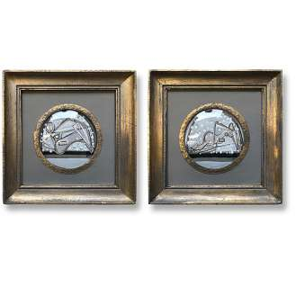 PAIR 'Snowglobes' L & R Study Gouache on Paper in Antique Gold Gilt Frames with Convex Glass (B1024)