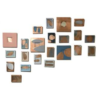 Set of 22 Sculptural Paintings Acrylic & Copper Leaf on Wood (B1025)