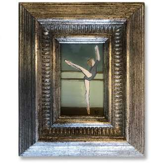 MINIATURE 'The Barre' Gouache on Paper in Antique Gold Leaf Frame (B1027)