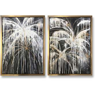 PAIR 'Fireworks Diptych' Oil & Acrylic on Board in Gold Gilt & Bronze Finish Shadow Gap Tray Frame (B1033)