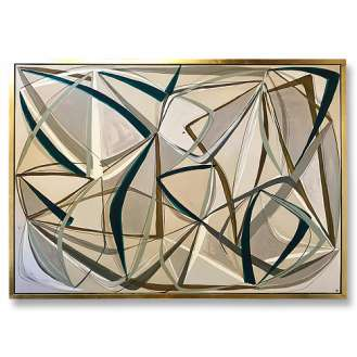 'String Theory in Gesso & Petrel Blue II' Oil & Acrylic on Board in Gold/Bronze Finish Shadow Gap Tray Frame (B1034)