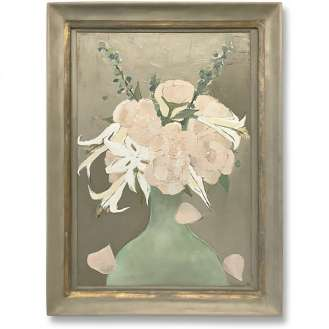 'Spring Bouquet' Oil & Acrylic on Board in Antique Silver Frame (B483)
