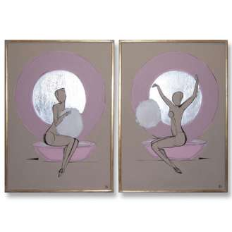 PAIR 'Powderpuff Girl' Left & Right Study Gouache & Silver Leaf on Board in Silver Gilt Frame (B497)