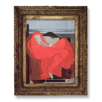 'Flaming June' Oil & Acrylic on Board in Victorian Ornate Foliate Frame (B505)