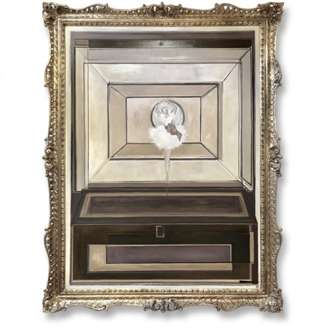 'Jewellery Box Ballerina' Oil, Acrylic & Silver Leaf on Board in Antique Gold Frame (B506)
