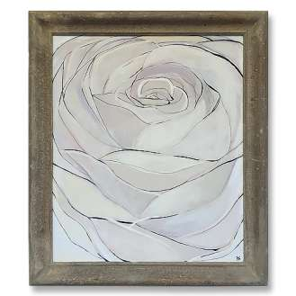 'Tea Rose' Oil & Acrylic on Board in Antique Frame (B536)