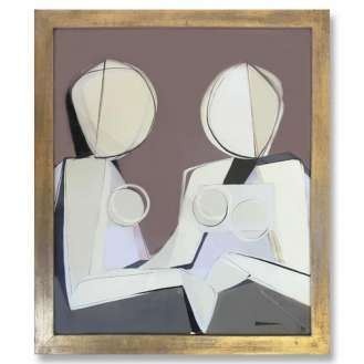 'Two Sisters' Gouache on Board in Gold Leafed 1960s Wooden Frame (B543)