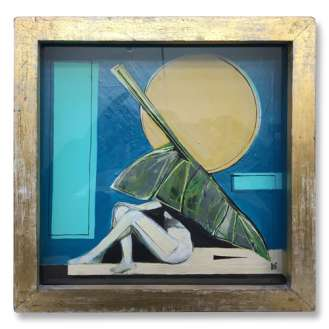 'Seychelles Dreaming' Oil & Gouache on Board in Gilt Box Frame (B560)