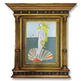 'Flourescent Venus', Gouache on Board in Antique Frame (B561)