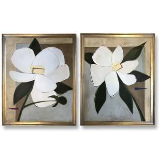 PAIR 'Magnolias' Left & Right Study, Oil & Acrylic on Board in Silver Gilt Frames (B589)
