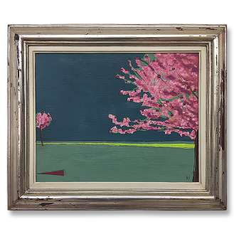'Blossom Walk' Oil & Acrylic on Canvas in Water Silver Gilt Antique Frame (B605)