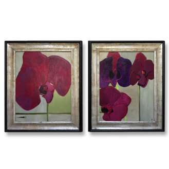 PAIR 'Fuchsia Love' Oil & Acrylic on Board in Gold Gilt & Black Lacquer Frames (B617)