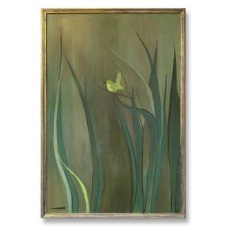 'Little Green Bird' Oil & Acrylic on Canvas in Gold Gilt Fame (B620)