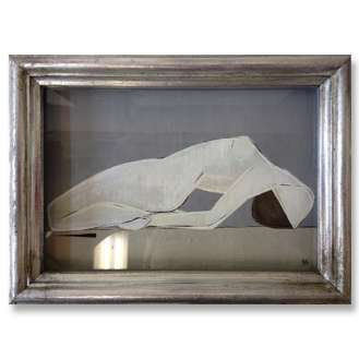 'Lay Back' Gouache on Board in Silver Gilt Exhibition Box Frame (B664)