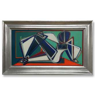 'Neon Nude' Oil & Acrylic on Board in Silver Gilt Wooden Frame (B670)