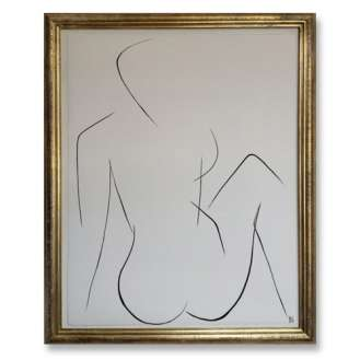 No.2 of SET of 14 'Nude Pose' Gouache Linear on Handmade Paper in Gold Gilt Frame (B679)