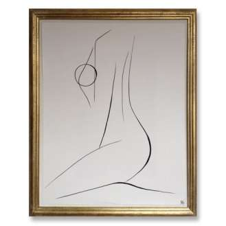 No.3 of SET of 14 'Nude Pose' Gouache Linear on Handmade Paper in Gold Gilt Frame (B680)