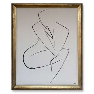 No.5 of SET of 14 'Nude Pose' Gouache Linear on Handmade Paper in Gold Gilt Frame (B682)