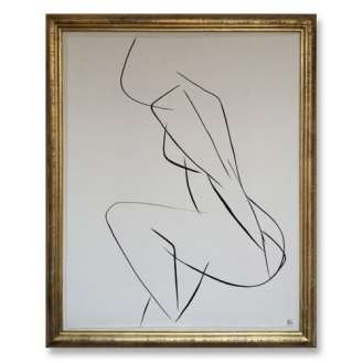 No.8 of SET of 14 'Nude Pose' Gouache Linear on Handmade Paper in Gold Gilt Frame (B685)