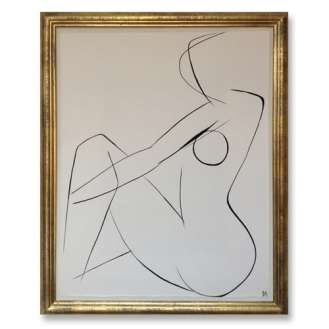 No.9 of SET of 14 'Nude Pose' Gouache Linear on Handmade Paper in Gold Gilt Frame (B686)