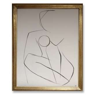 No.11 of SET of 14 'Nude Pose' Gouache Linear on Handmade Paper in Gold Gilt Frame (B688)