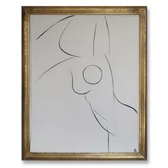 No.12 of SET of 14 'Nude Pose' Gouache Linear on Handmade Paper in Gold Gilt Frame (B689)