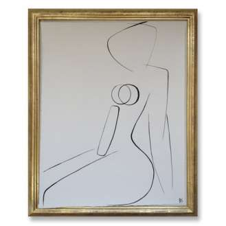No.13 of SET of 14 'Nude Pose' Gouache Linear on Handmade Paper in Gold Gilt Frame (B690)