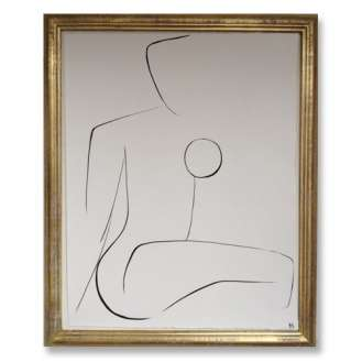 No.14 of SET of 14 'Nude Pose' Gouache Linear on Handmade Paper in Gold Gilt Frame (B691)