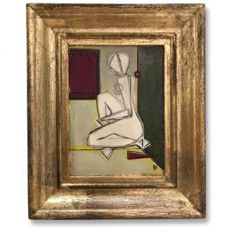 'On Reflection' Oil & Acrylic on Board in Bespoke Gilt and Painted Wooden Frame (B695)