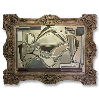 'Olympia' Oil & Acrylic on Board in Massive Ornate Gold Gilt Modern Frame (B722)