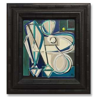 'Blue and the Pea' Oil & Acrylic on Board in Antique Carved Wooden Frame (B725)