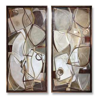 PAIR 'River Stones' Left & Right Study Oil & Acrylic on Canvas in Bronze Finish Tray Frame (B775)