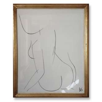 No.15 of SET of 26 'Nude Pose' Gouache Linear on Handmade Paper in Gold Gilt Frame (B780)