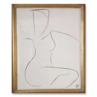 No.17 of SET of 26 'Nude Pose' Gouache Linear on Handmade Paper in Gold Gilt Frame (B782)