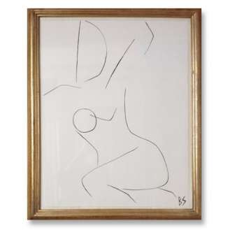 No.19 of SET of 26 'Nude Pose' Gouache Linear on Handmade Paper in Gold Gilt Frame (B784)