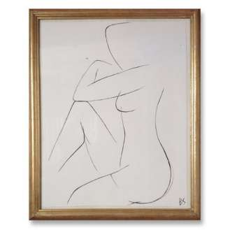 No.21 of SET of 26 'Nude Pose' Gouache Linear on Handmade Paper in Gold Gilt Frame (B786)