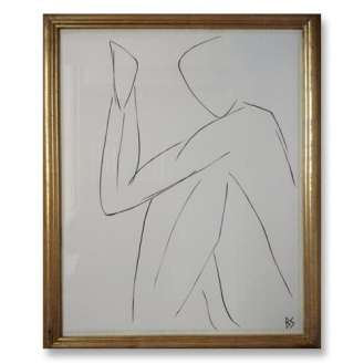 No.23 of SET of 26 'Nude Pose' Gouache Linear on Handmade Paper in Gold Gilt Frame (B788)