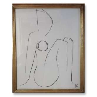 No.24 of SET of 26 'Nude Pose' Gouache Linear on Handmade Paper in Gold Gilt Frame (B789)