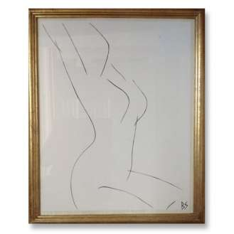 No.25 of SET of 26 'Nude Pose' Gouache Linear on Handmade Paper in Gold Gilt Frame (B790)