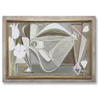 'Reclining Nude with Princess Tulips' Oil & Acrylic on Board in Cream & Gold Leaf Frame (B798)