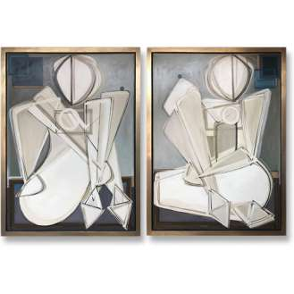 PAIR 'Seated Petra with Blueberry O' Left & Right Study Oil & Acrylic on Board in Bespoke Silver Tray Frames (B811)