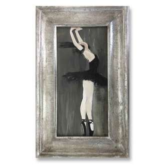 'Black Swan' Oil, Gouache & Acrylic on Board in Classic Style Silver Gilt Frame (B837)