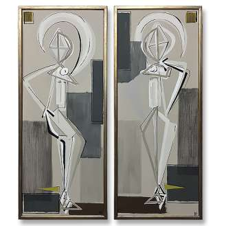 PAIR 'Standing Belle' L & R Study Gouache on Board behind Glass in Gold/Bronze Finish Frame 32cm x 77cm (B841)
